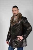 Soft Calfskin Leather & Wolf Collar Coat