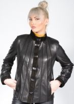 Women's Lambskin and Suede Detail Jacket - AA144