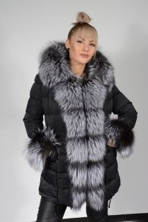 Padded Coat with Fox Collar