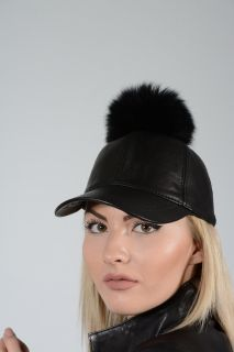 HAT01-PONPON -  Ladies hat lambskin and fox