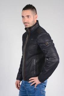 B251 Dark Navy-Blue Calfskin & Suede Jacket