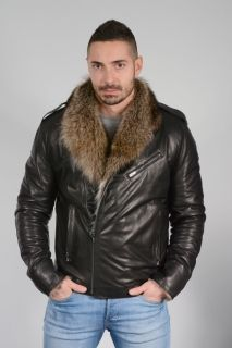 DB3 -  Men's coat with calfskin and wolf
