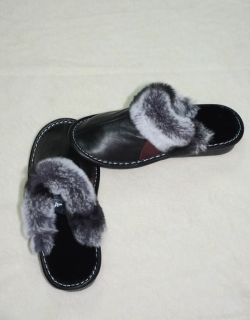 SHOE30 -  Ladies slippers lambskin and chinchilla