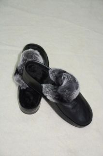 SHOE31 -  Ladies slippers lambskin and chinchilla