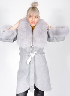 Alpaca Fabric Coat with Fox