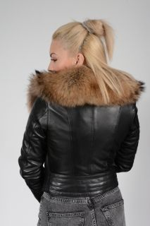 Biker Lambskin and Raccoon Jacket