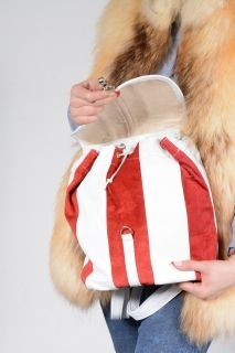 BAG-MERI Red Strip Lambskin Backpack